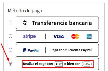 Apartado para pagar con Google y Apple Pay