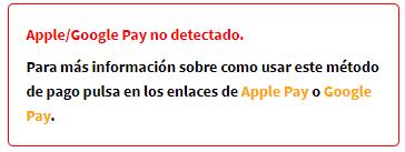 Error en la tramitación de pedido por Google Pay o Apple Pay